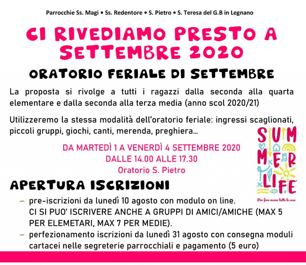 oratorio feriale settembre 2020
